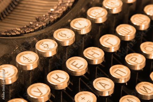 Keyboard of vintage typewriter sepia