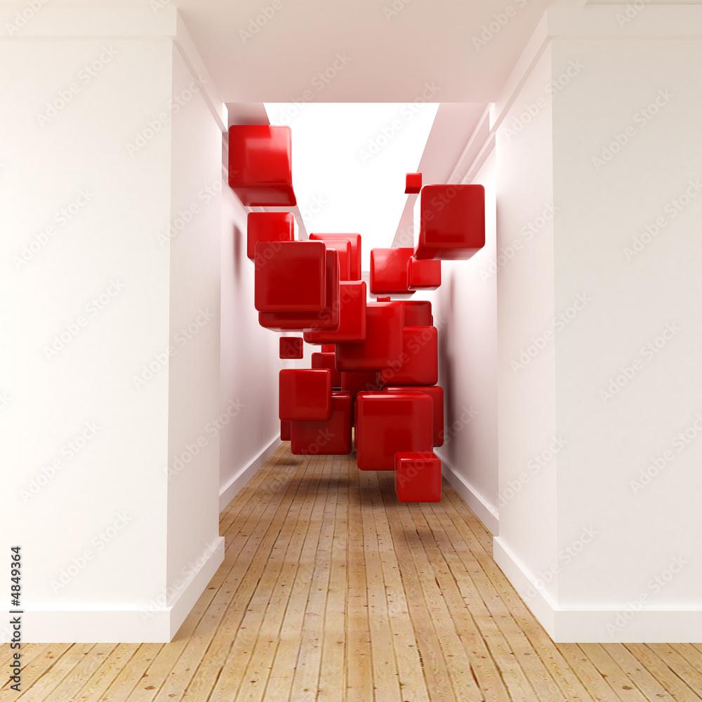 Fototapeta line red museum cube
