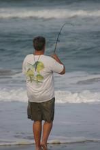 Man Surf Fishing