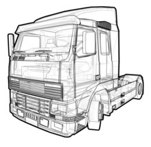 Schematic Illustration Of A Volvo Truck.