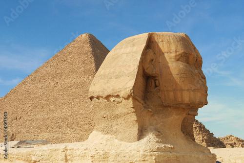 In de dag Egypte sphinx and pyramid - egypt