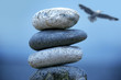 Pile of pebble Stones and seagull