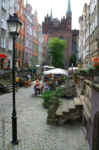 Nice little promenade in the Old Town in Gdansk, Poland