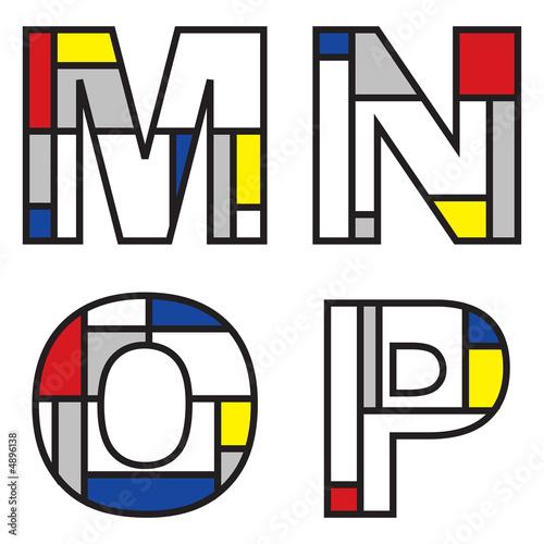 mondrian alphabets - part of a full set Poster