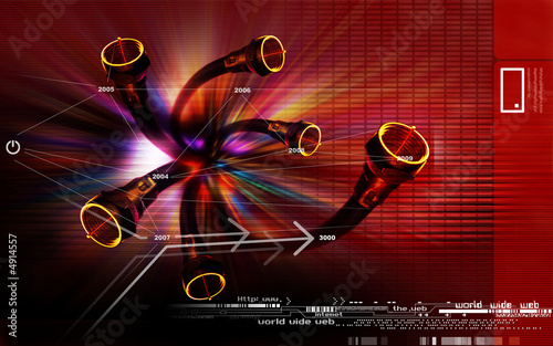 Array of pipes superimposed on a red background