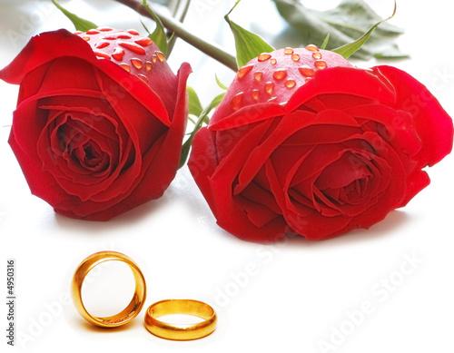 Plakat Koncepcja ślub z róż i pierścieni