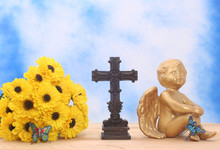 Flowers And Angel With Cross