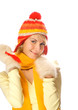 Beautiful girl in winter clothing isolated on white background