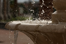 Beautiful Stop Action Of A Outdoor Fountain.