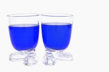 Foot Glass Whit Bleu Liquid