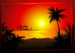 Leinwanddruck Bild Tropical beach sunset