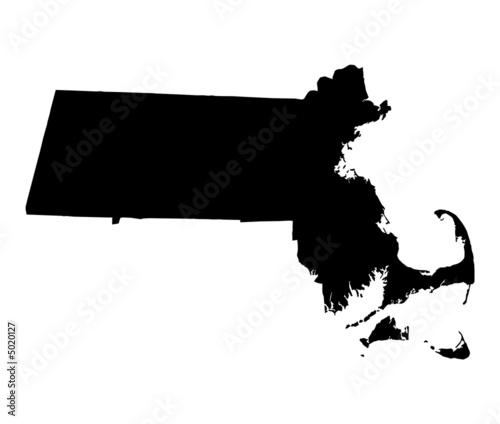Fotografie, Obraz  map of Massachusetts, USA
