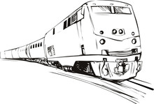Speeding Train Sketch Style