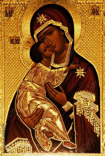An orthodox icon of Mary, Vladimirskaya Tableau sur Toile