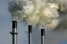 Coal Power Plant Smoking Chimney Stacks