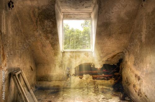 Poster Ruine Zimmer mit Ausblick