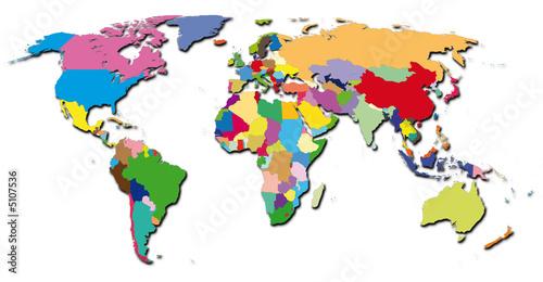 Deurstickers Wereldkaart world-colors