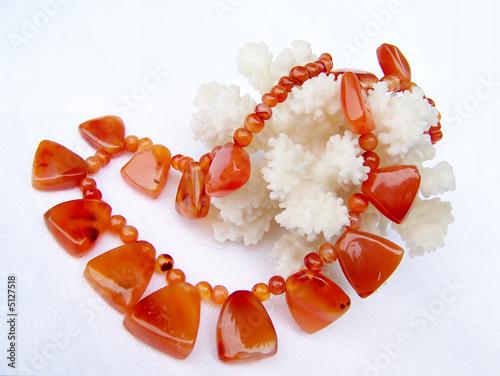 Fotografie, Obraz Cornelian necklace and coral