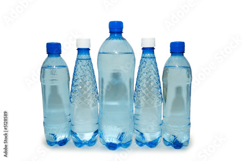 Foto op Canvas Water Water bottles isolated on the white background