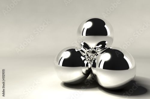 obraz dibond pyramid of silver chrome balls