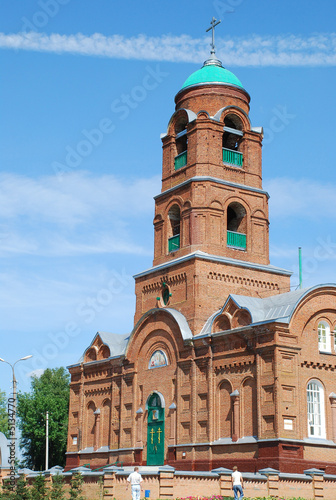 Stickers pour porte Pierre, Sable Church from a red brick 3
