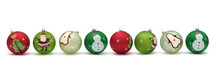Row Of Pretty Christmas Baubles Isolated On White
