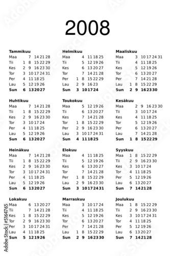 Calendar Template 2008 Finnish