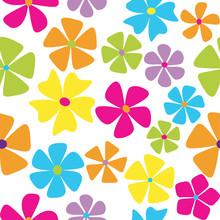 Seamless Retro Flowers In Mult...