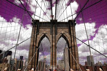 Panel Szklany Optyczne powiększenie Brooklyn Bridge