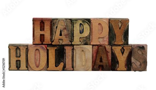 'Happy Holidays' in letterpress wood letters Fototapet