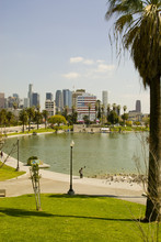 MacArthur Park And Downtown, Los Angeles, Ca