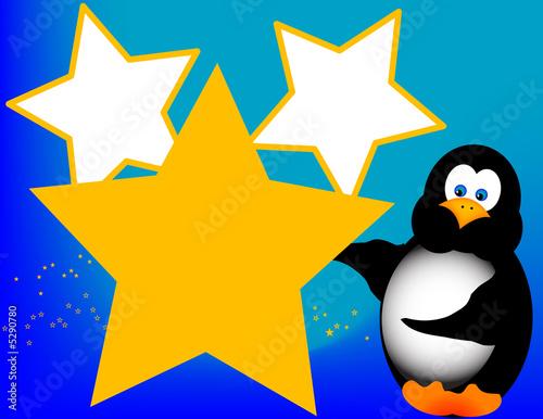 Foto-Stoff - Cartoon Penguin with Stars (von Destinyvp)