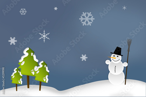 Printed kitchen splashbacks Light blue Christmas Card - Snowman in the Forest