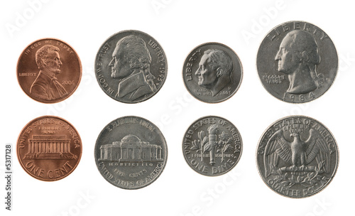 Pinturas sobre lienzo  US Coins Collection Isolated on White