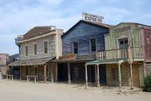 Wooden Buildings In Old American Western Town