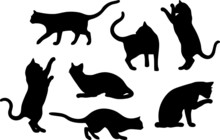 Set Of Cat Silhouette Designs