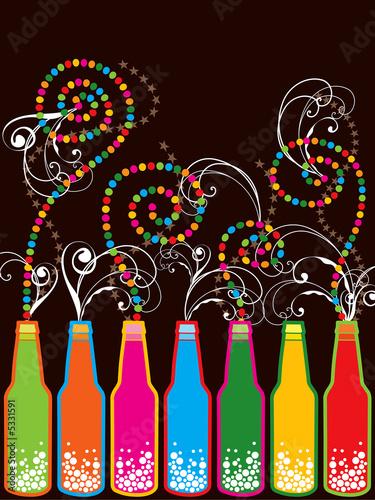 Fotografie, Obraz  colorful retro pop new year bottles