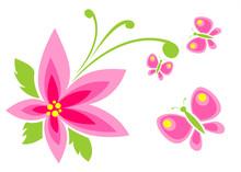 Pink Flower And Butterflies