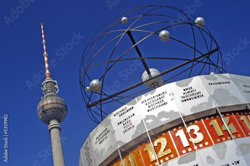 Deurstickers Berlijn Weltzeituhr Fernsehturm Alexanderplatz