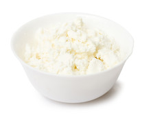 Bowl With Curd On White Backgr...