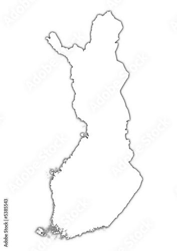 Finland outline map with shadow. – kaufen Sie diese ...