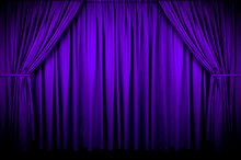 Large Purple Curtain With Spot...
