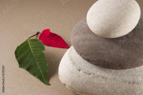 Photo sur Plexiglas Zen pierres a sable 3 galets en équilibre et deux feuilles rouge et verte