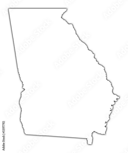 Map Of Georgia Outline.Georgia Usa Outline Map With Shadow Buy This Stock Illustration
