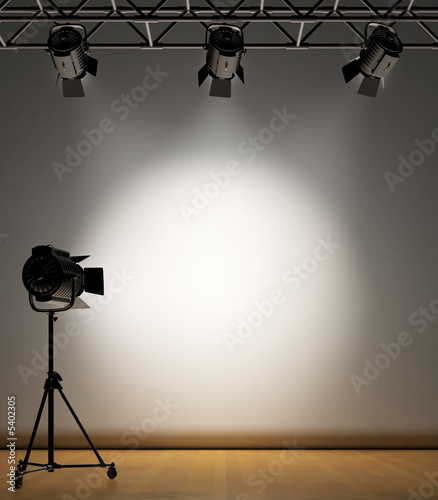Spoed Foto op Canvas Licht, schaduw A vintage theater spotlight on a white background