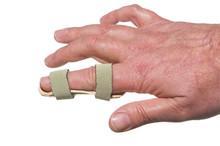 A Broken Finger In A Temporary Splint.