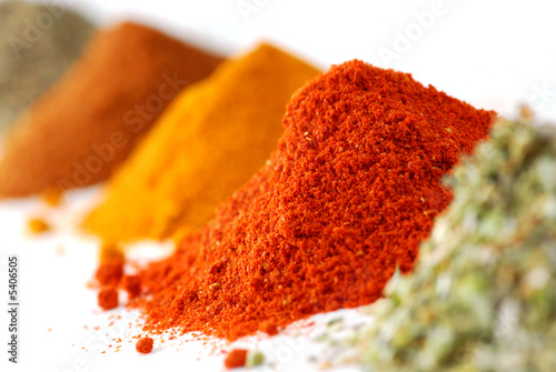 In de dag Kruiden Heaps of various ground spices on white background
