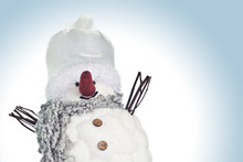 Small, Funny Snowman Smiling O...