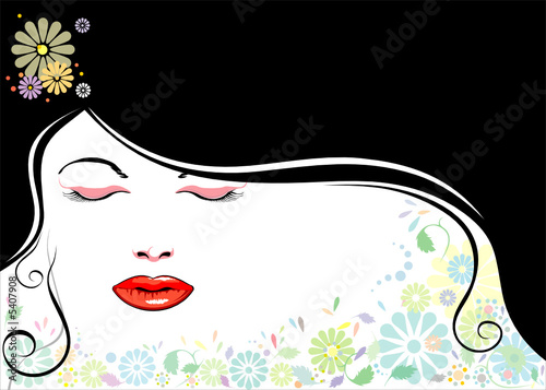 Floral femme vector file of beautiful girl and black hair