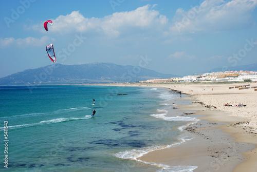 Kite surfing in Tarifa, southern Spain